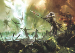 Wood Elves fighting barbarians