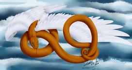 Orange winged snake sm by leetah43-d7xirce