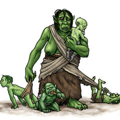 An orc nanny, looking after the tribe's babies...