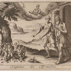 Medieval art recalls the origins of Aegina's Myrmidons...