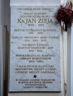 Tablica ksiądz Jan Zieja Kościół Wizytek.JPG