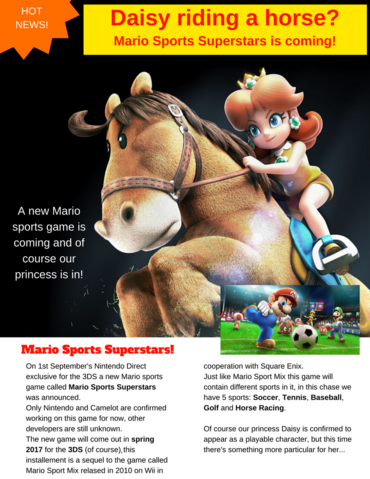 File:Sarasaland Gossip Page 01 - Daisy riding a horse Mario Sports Superstars is coming!.png