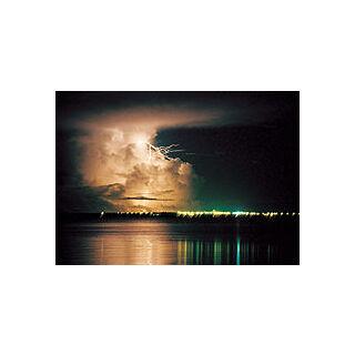 Wet season thunderstorm at night in Darwin, Australia.