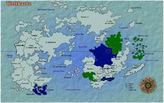 Karte des Rammsteinischen und des französischen Kolonialreiches zu ihrer größten Ausdehnung.