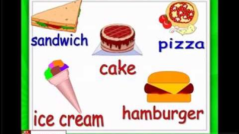 English for children,ESL Kids Lessons - Food and eating - hamburger, ice cream, chocolate