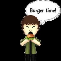 A male mii eating a burger.
