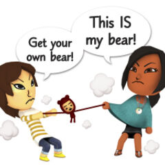 Two miis in a fight over a teddy bear.
