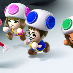 Artwork of several Miis dressed as Mario and Toads