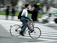 Two men on bicycle