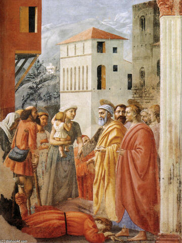 File:Distribution of Alms and Death of Ananias, 1425 by Masaccio.JPG