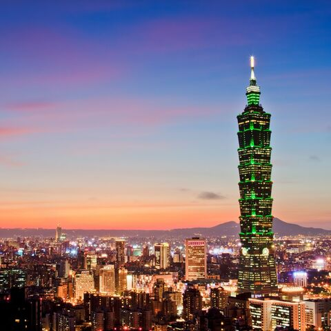 Skyline of Taipei, with <a rel=
