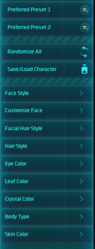 WildStar character customization UI 1