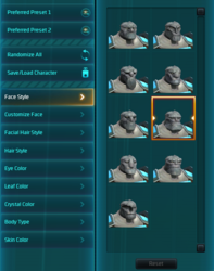 WildStar character customization UI 2