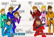 Red VS Blue fan art by MidNight Vixen