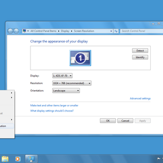 Windows 7 Screen Resolution menu