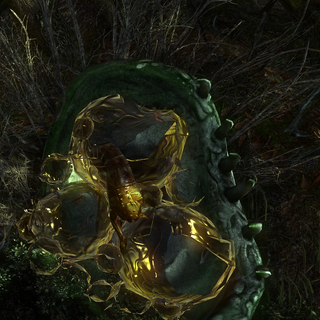 Destroyed cocoon showing broken eggs and what appears to be a partially developed endrega warrior