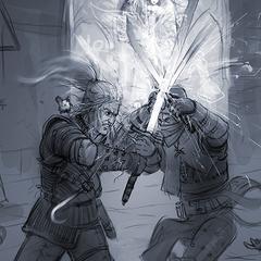 Third concept art fighting Geralt