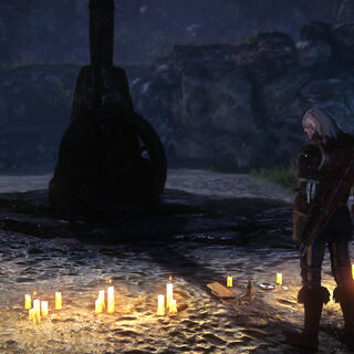 Geralt examines the site