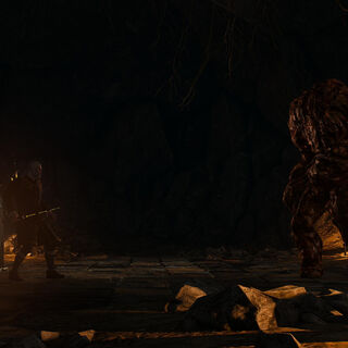 Geralt and Yennefer against earth elemental