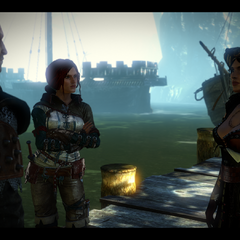 Síle, Triss and Geralt in conversation.