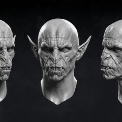 Digital model of vampiric face.