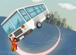 WordGirl catching a bus