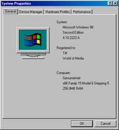 Windows98se properties