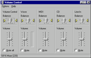 Windows95 volumecontrol