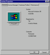 Windows95 properties