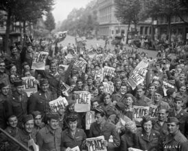 American personnel celebrate V-J Day, Paris August 15, 1945