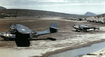 PV-1 and PBY-5a on airfield, Aleutians 1943