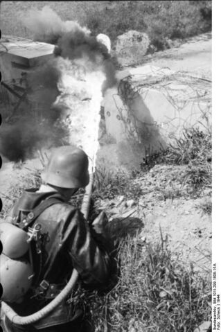 File:A German soldier practicing with a Flammenwerfer 35, Northern France 1944.jpg
