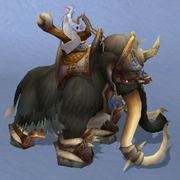 Black War Mammoth, Snow Background, NE Female Rider