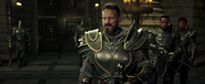 Karos in armor helmet off-landscape