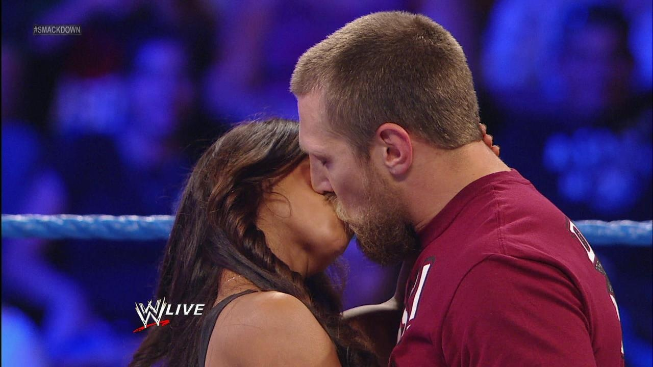 image aj lee kissing daniel bryan jpg wwe divas