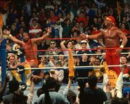 Hulk Hogan and Randy Savage at Wrestlemania-4