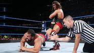Gable putting Rusev into a ankle-locks