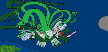 Gundam battles Godom Dragon