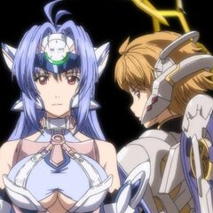 Fiora and KOS-MOS during a cutscene in <i>Project X Zone 2</i>