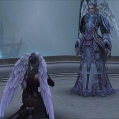 Yumea with a member of Bionite Order