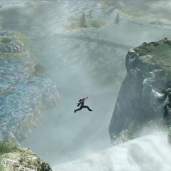 Jumping across the top of a waterfall