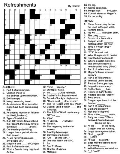 CrosswordRefreshments