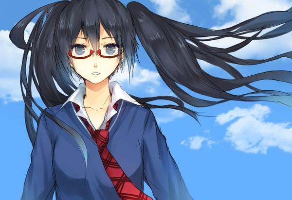 image vocaloid hatsune miku tie glasses long hair gray