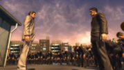 Majima and his men quickly approaches at Kiryu