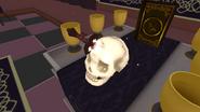 Burning knife in skull