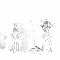 Yandere-chan unsuccessfully trying to crush Rival-chan with a tree in <a rel=