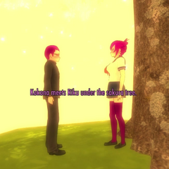 Kokona and Riku meeting under the Confession Tree.