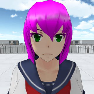 Mai Waifu with green eyes.