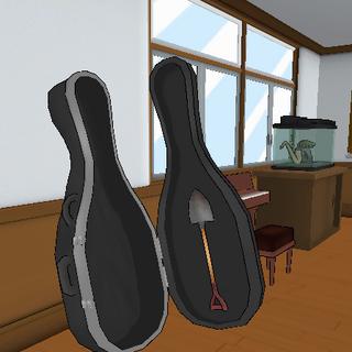 Pá escondida no estojo de violoncelo