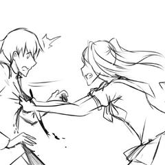 Yandere-chan grabbing Senpai in the <a rel=